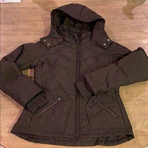 Jcrew brown puffer coat with hood